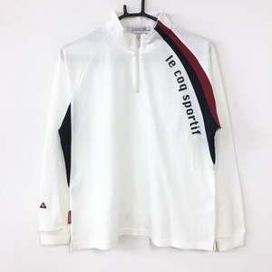 le coq sportif ルコック 長袖ハイネックシャツ 白×黒 ストレッチ ハーフジップ メンズ L ゴルフウェア