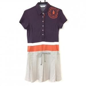 Munsingwear マンシングウェア 半袖ポロワンピース ダークパープル×ベージュ ボックスプリーツ フロッキーロゴ レディース M ゴルフウェア