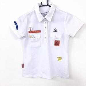 le coq sportif ルコック 半袖ポロシャツ 白 胸ポケット 複数ワッペン レディース S ゴルフウェア