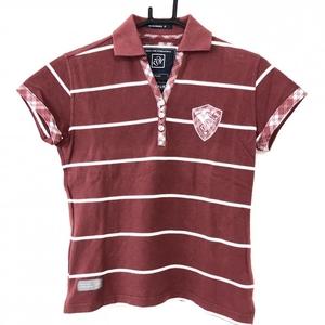ZOY ゾーイ 半袖ポロシャツ レッド×白 ボーダー柄 ワッペン レディース 40[L] ゴルフウェア