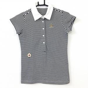 le coq sportif ルコック 半袖ポロシャツ 黒×白 ボーダー柄 ストレッチ レディース M ゴルフウェア