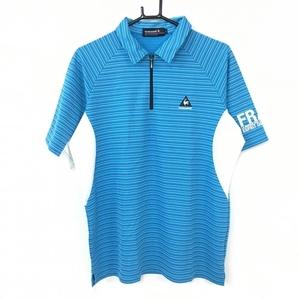 【美品】le coq sportif ルコック 半袖ポロシャツ ライトブルー×白 ハーフジップ ボーダー 一部メッシュ メンズ L ゴルフウェア