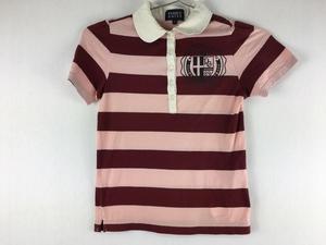 PEARLYGATES パーリーゲイツ 半袖ポロシャツ 0 レディース 赤ピンクボーダー ゴルフ M