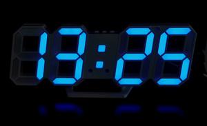 DC LED デジタル時計 掛け時計 置き時計 2way インダストリアル 男前 インテリア 白/青発光