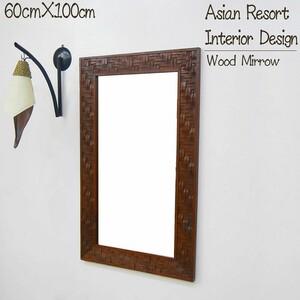 壁掛けミラー ウォールミラー 鏡 姿見 木製 天然木 チーク無垢材 オブジェ バリ アジアン 雑貨 インテリア おしゃれ KM-12BR