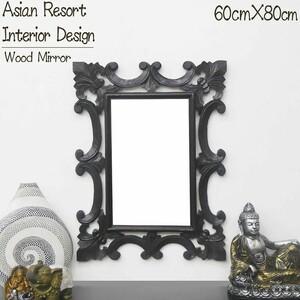 壁掛けミラー ウォールミラー 鏡 姿見 木製 ボタニカル 天然木 チーク無垢材 オブジェ バリ アジアン 雑貨 インテリア おしゃれ KM-05DB
