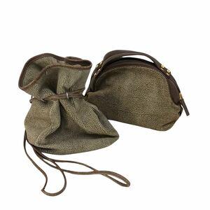 H382① BORBONESE ボルボネーゼ 2点 セット まとめ売り 茶系 うずら柄 ハンドバッグ 肩掛け バッグ イタリア製 鞄 カバン bag