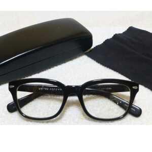 美品 金子眼鏡 UR ●度無し 高級品の証 celluloid 太セル ウェリントン 鯖江 日本製 メガネ EFFECTOR guepard 本体のみ