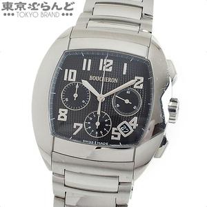 101544559 1円 ブシュロン BOUCHERON MEC ウォッチ クロノグラフ 時計 腕時計 メンズ 自動巻き オートマチック SS 黒 WA006202 日差大 現状