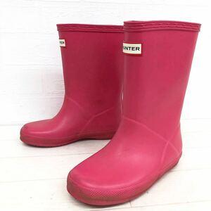 95★ HUNTER ハンター レインブーツ 雨靴 長靴 UK10 16cm程 レディース ピンク
