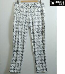 新品 GOTCHA ガッチャゴルフ Mサイズ 撥水 パンツ 裏フリース ロゴ刺繍 ホワイト 1806