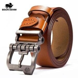 メンズベルト BISON DENIM 高級海外ブランド 本革 レザー ヴィンテージ サイズ選択 ビジネス 牛革 ブラウン