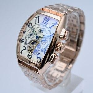 海外 ブランド オシャレ クール スケルトン 自動巻き 機械式 腕時計 メンズ ステンレス トゥールビヨン好きな方へ 色選択