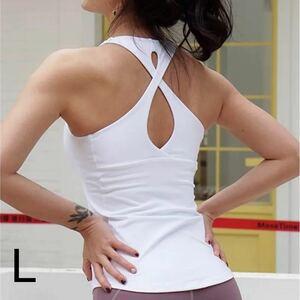 ティアドロップバック*タンクトップLサイズ白 ヨガタンク ヨガウェア ピラティス トレーニング バレエ ダンス ズンバ エアロビクス ジム