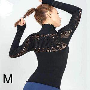 ヨガ&普段着に*レースのようなメッシュスポーツトップスMサイズ ヨガ長袖 ヨガウェア ピラティス ダンス トレーニング フィットネス ジム