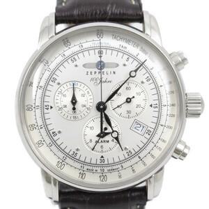 ツェッペリン 100周年記念モデル アラーム クロノグラフ クォーツ メンズ 腕時計 シルバー文字盤 純正革ベルト 7680-1【いおき質店】