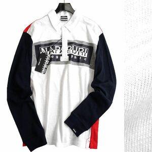 ■NAPAPIJRI ナパピリ 新品 定価2万 最旬 EMEI カラー切替 上質コットン 長袖 ポロシャツ ラガーシャツ N0YIEGM30 XL ▲030▼bus5033e