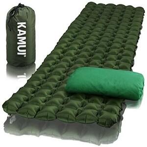 エアーマット 【便利な枕カバーと修理パッチ付】 携帯寝袋用マット 軽量でコンパクト キャンプ バックパッキング 防災