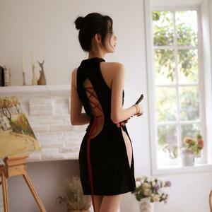 セクシーコスプレ チャイナドレス 背中がエロ可愛い ハロウィン衣装セット ドレス