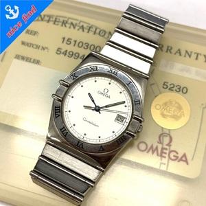 ◆オメガ OMEGA◆コンステレーション ref.15103000 クォーツ 腕時計 ボーイズ ウォッチ シルバー SS Gカード/ケース/コマ付 不動品 デイト