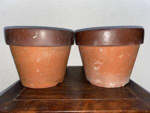 植木鉢 素焼き 7号 2点セット 多肉植物 山野草 観葉植物 草花 深鉢 鉢 盆栽鉢