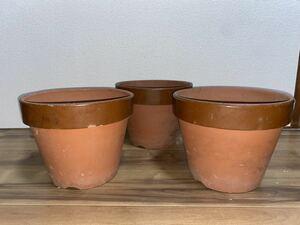 植木鉢 素焼き 9号 3点セット 多肉植物 山野草 観葉植物 草花 深鉢 鉢 盆栽鉢