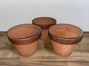 植木鉢 素焼き 8号 3点セット 多肉植物 山野草 観葉植物 草花 深鉢 鉢 盆栽鉢