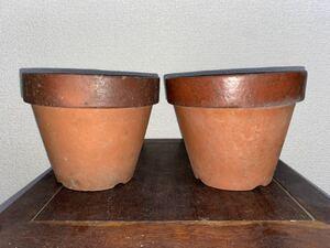 植木鉢 素焼き 6号 2点セット 多肉植物 山野草 観葉植物 草花 深鉢 鉢 盆栽鉢