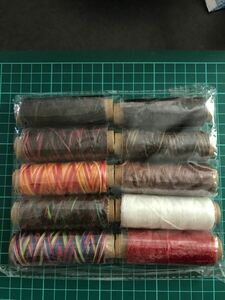 【値引き】蝋引き糸 ロウ引き糸 レザークラフト糸 直径1mm 10個セット 各50m