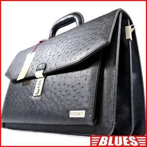 即決★KEIM'S★オールレザービジネスバッグ ケイムス メンズ 黒 オーストリッチ型押し 本革 ショルダーバッグ ブリーフケース タグ付き
