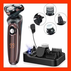 1198 多機能シェーバー 電気シェーバー Venstsel メンズシェーバー 髭剃り 回転式 3枚刃(ブラック)