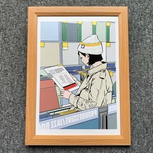 ■江口寿史『レコードがある暮らし』B5サイズ 額入り 貴重イラスト 印刷物 ポスター風デザイン 額装品 アートフレーム インテリア 美少女