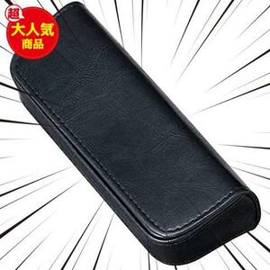 メイガン メガネケース メンズ セミ ハード コンパクト スクエア おしゃれ ブランド フェイク レザー ステッチ ブラック マグネット式