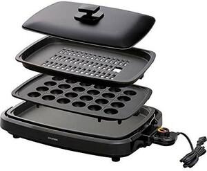 新品売れスジ! アイリスオーヤマ ホットプレート たこ焼き 焼肉 平面 プレート 3枚 網焼き 蓋付き ブラックUD0X