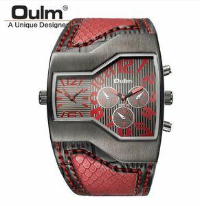 新品 メンズ腕時計男性用海外高級ブランドクオーツスネークスチームパンクレザーバンドツータイムゾーンレッドカジュアル