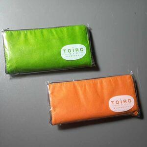 エコバッグ コンパクトエコトートバッグ 黄緑・オレンジの2色セット バッグ約40×38㎝ コンパクト時約10×20㎝ 未使用