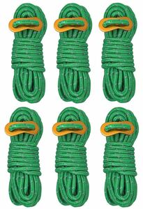 ロープ×6本、アルミ製自在金具×6 テント タープキャンプ 反射ロープ