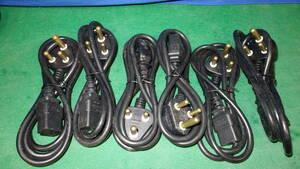 高出力パワーアンプ/サーバー用 250V/16A 1円スタート!  IEC規格 C-19 プラグ 付き 海外・200Vコンセント用プラグ1m 6本セット