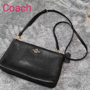 コーチ Coach ショルダーバッグ 黒 レザーチャーム 38273