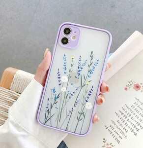 iphone12ケース アイフォン 韓国スマホマリメッコmarimekko北欧ウニッコ アフタヌーンティーデイジー 押し花ドライフラワーパープル紫