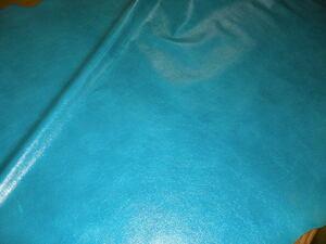 ヨーロッパ馬革、0.9-1.0mm 267デシ ターコイスブルー 顔料ダメージ仕上げ 小じわ 色ムラあり。