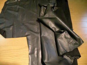 牛革衣料用 0.7-0.8mm 生地良い 素上げ(バフ仕上げ)黒 ハギレ 120デシ かなり柔らかい