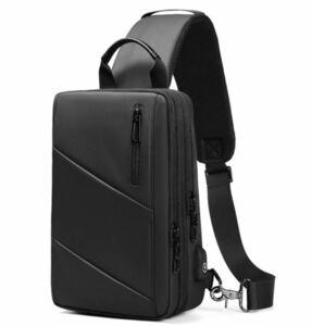 【本日限定セール】ZARA系 海外ブランド メンズ ボディバッグ 大容量 USBポート 斜めがけバッグ ワンショルダーバッグ 黒
