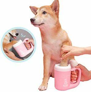 ピンク S(内径5.56CM) SUNYUM猫犬足洗いカップ ペット用セット ペットブラシ付き 足クリーナー お散歩 足の汚れ
