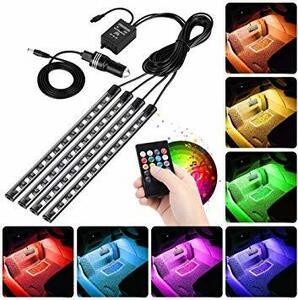 ブラック ledテープライト EECOO イルミネーション 車用 車テープライト USB式 車内装飾用 足下照明 48LED 高