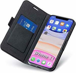 ブラック iphone11 iphone 11 ケース 手帳型 薄型 スマホケース PUレザー 全面保護 携帯カバー カード収納