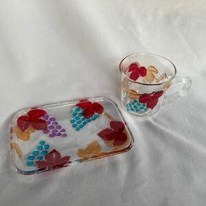 カップ&ソーサー マグカップ ソーサー カップ 皿 ガラス 昭和レトロ