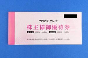 送料0~◆サガミグループ株主優待券/30000円分