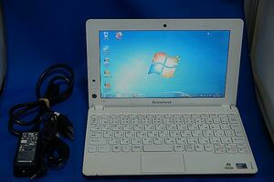 lenovo☆ideapad S100◆10.1型 Intel Atom N455/1GB/320GB/windows7/無線LAN◆電源アダプタ付属▼中古現状品
