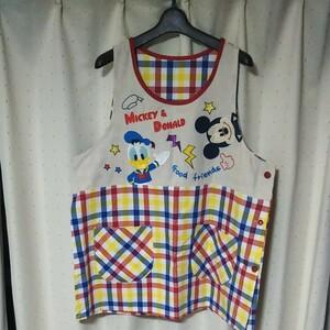 大きめエプロン 保育士 介護 エプロン 3L DISNEY ディズニー ミッキーマウス ドナルドダック